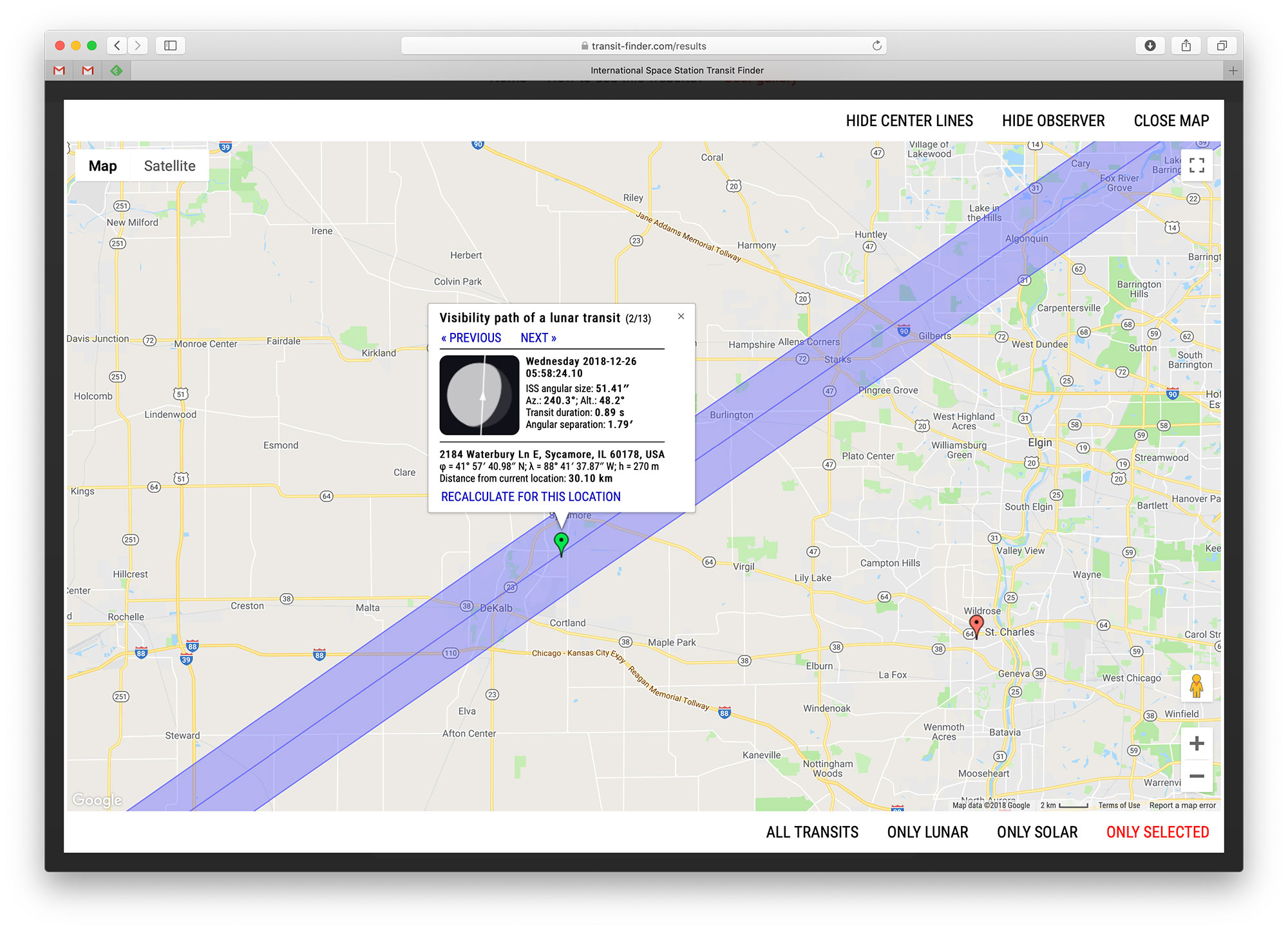 Using the transit finder tool to plot another ISS capture